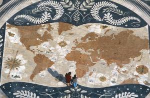 World map fresco